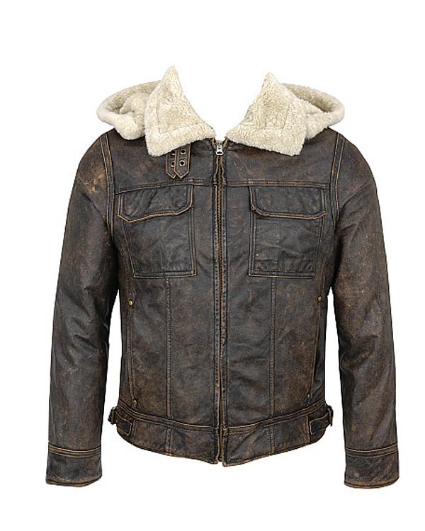 Melanex Leather Hooded Bomber Jacket - Leather4sure M
