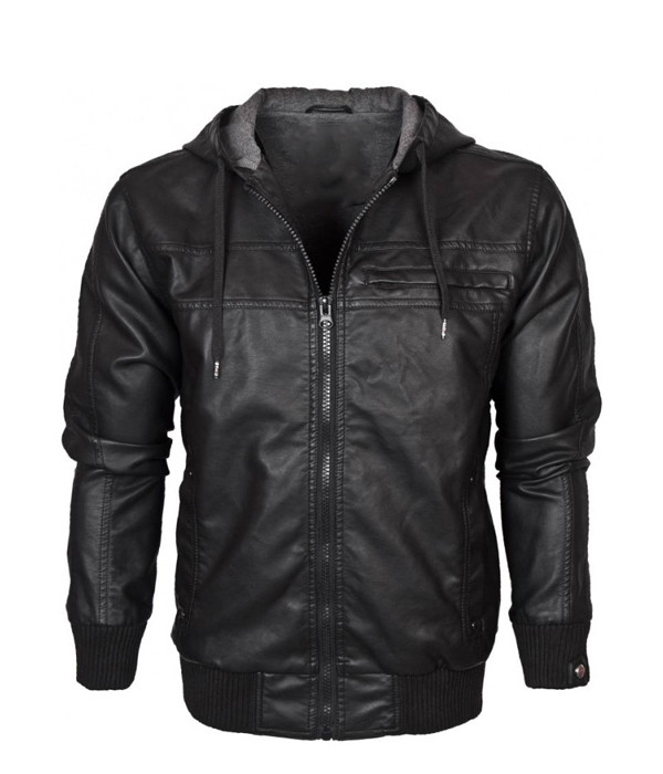 Russet Hooded Leather Bomber Jacket - Leather4sure M