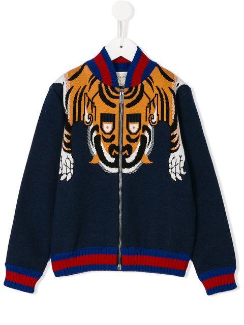 Shop Gucci Kids tiger knit jacket . | Designer bomber jacket, Kids .