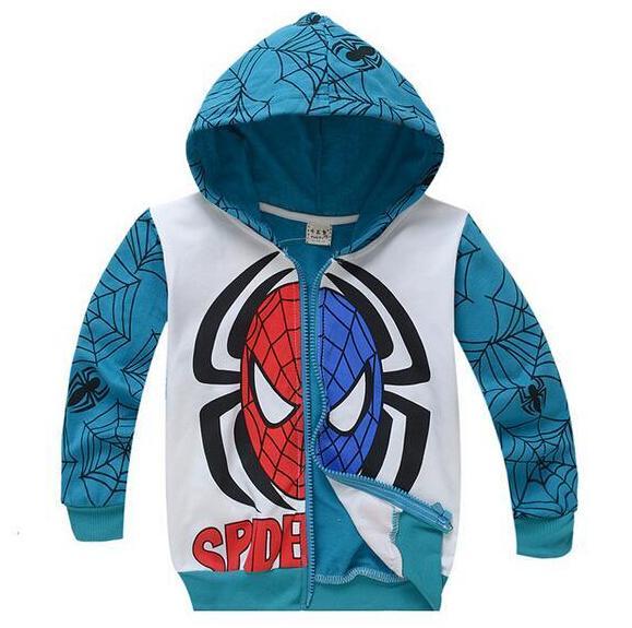 2020 Boys Jacket Kids Avengers Spiderman Hoodie Jacket Blue .
