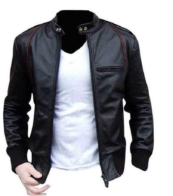 Handmade Custom New Men Black With Red Lining Leather Jacket, Men .