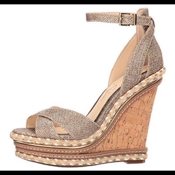 Jessica Simpson Shoes | Womens Ahnika Gold Wedge Sandal | Poshma