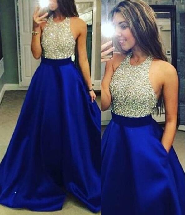 Royal Blue Sleeveless Royal Blue Long Prom Dresses, Stylish Party .