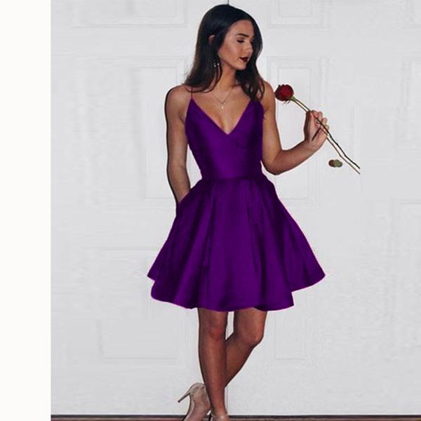2020 Burgundy Spaghetti Girls Short Graduation /Junior Prom Dress .