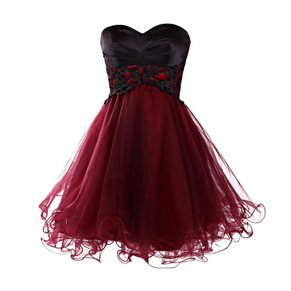 Prom Dress,New Mini Homecoming Dress, Short Burgundy Homecoming .