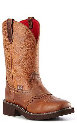 Justin Gypsy Women's Tan Floral Embossed Square Toe Boots | Cavender