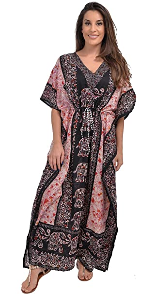 Nightingale Collection Womens Ladies Long Kaftans Elephant Printed .