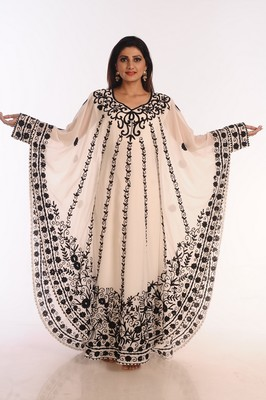 Off white Embroidered Georgette Islamic Kaftans With Zari Work .