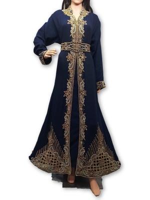 Navy blue georgette embriodery islamic kaftans - Mehreen Creation .