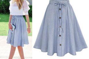 Summer Women Skirt Vintage Stripe Print Lace-up Button High Waist .