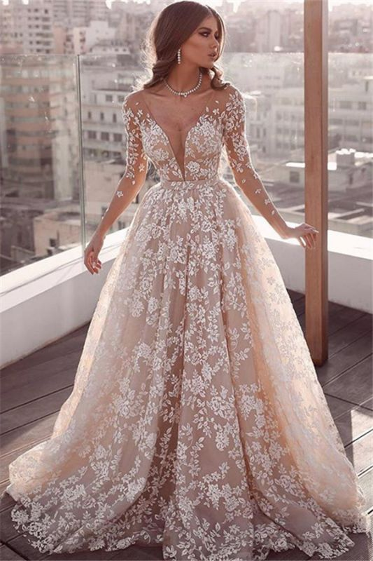 Elegant Lace Appliques Wedding Dresses   Long Sleeve Cheap Bridal .
