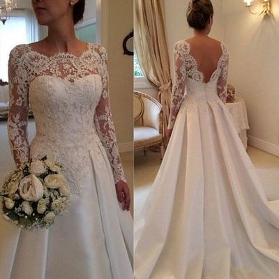 A Line Backless Long Sleeve Spring Wedding Dresses lace Bridal .