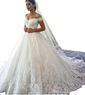 TTdamai Women's Lace Wedding Dresses Bridal Gowns Off-Shoulder .