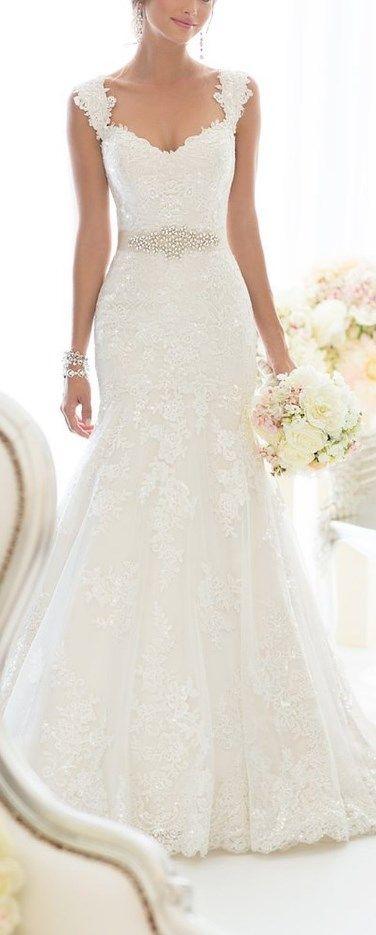 Elegant Off-Shoulder Crystal Lace Wedding Dress   Wedding dresses .