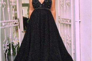 A-Line Spaghetti Straps Black Lace Prom Dress with Beading Sequins .