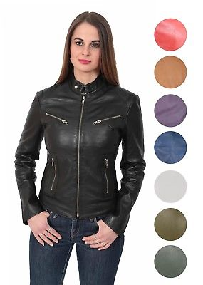 Ladies Leather Biker Jacket Girls Funky Sexy Fitted Zip Up Coat .