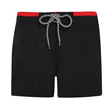 Asquith & Fox Womens/Ladies Swim Shorts (S) (Black/Red) at Amazon .