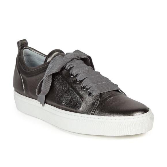 Lanvin Shoes | Gunmetal Leather Sneakers | Poshma