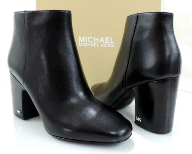 Women's Michael Kors Elaine Bootie Block Heel Ankle Boots Leather .
