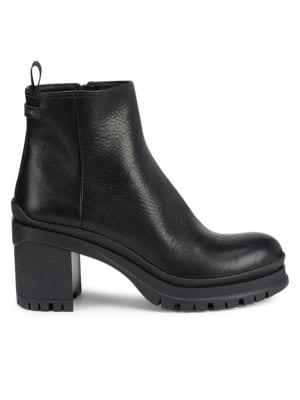 Prada - Lug-Sole Leather Ankle Boots - saks.c