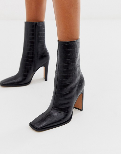ASOS DESIGN Evolution leather high ankle boots in black croc | AS