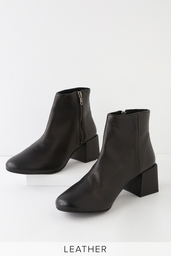 Rebels Jenna - Black Leather Ankle Boots - Block Heel Ankle Boo