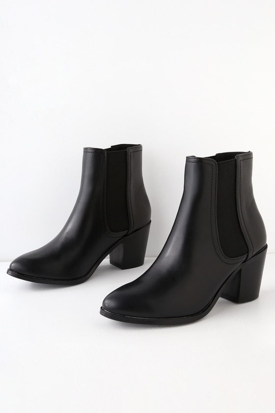 Cute Black Bootie - Black Ankle Boot - Vegan Leather Boot