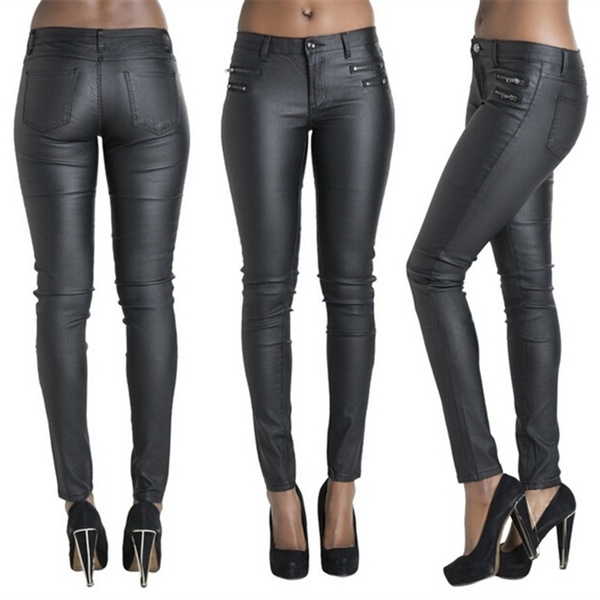 Sexy Black Leather Pants for Women Pencil Pants Trousers Leather .