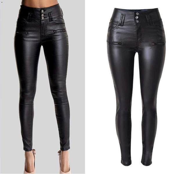 High Waisted Skinny Leather Jeans – Look Love Lu