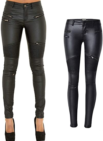 PU Leather Denim Pants for Women Sexy Tight Stretchy Rider .