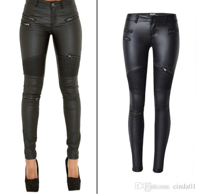 2020 Faux Leather Pants Women Elastic Zipper Leather Pants .