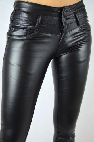 Women Pants Faux Leather Trousers Jeans 026 Skinny Black Slim Fit .