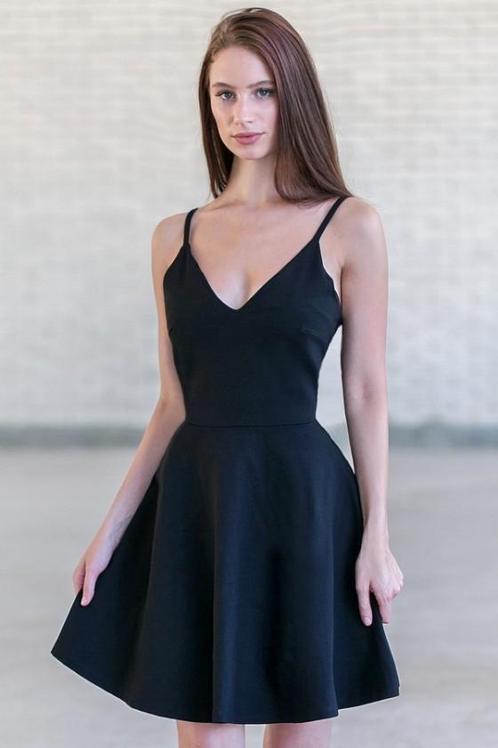 Little Black Dress, Cute Black A-Line Dress, Black Party Dress .