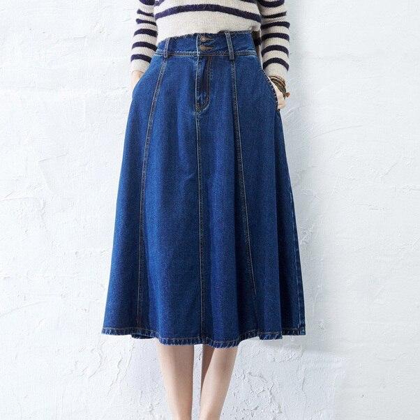 Summer Style Long Denim Skirts For Women Vintage Cotton Female .