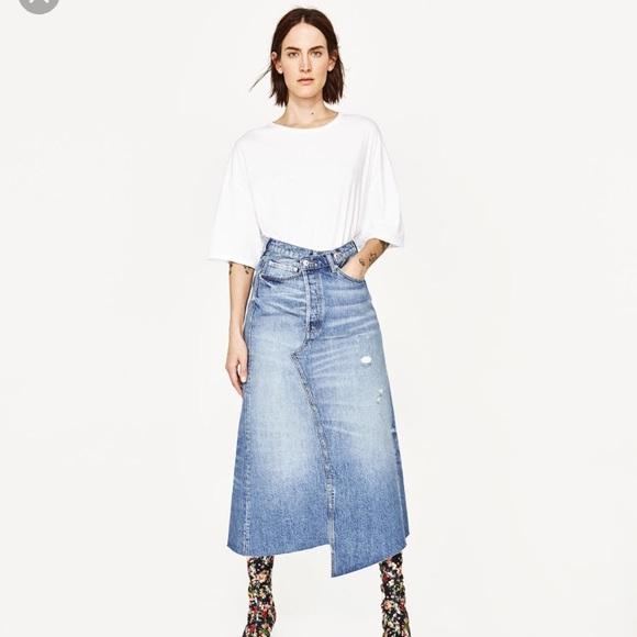 Zara Skirts | Long Denim Skirt Only Wore It Once | Poshma