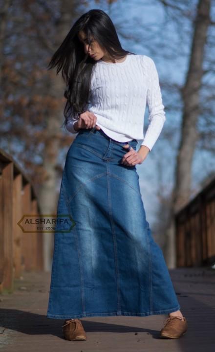 Long Denim Skirt, Tall Skirt, Denim Skirts Knee Length, Islamic .