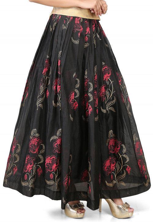 Printed Chanderi Silk Long Skirt in Black : THU5