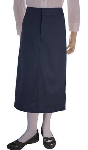 Wholesale Girl's School Uniform Long Skirt in Navy Bl