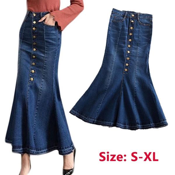 Women Fishtail Long Denim Skirt High Waist Slim Stretch Maxi Jeans .