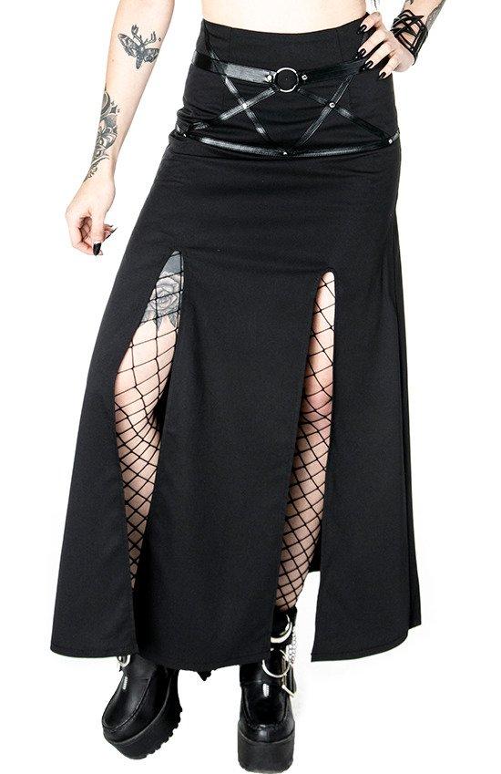 """Long gothic skirt """"VILLAIN SKIRT"""" with splits - Resty"""