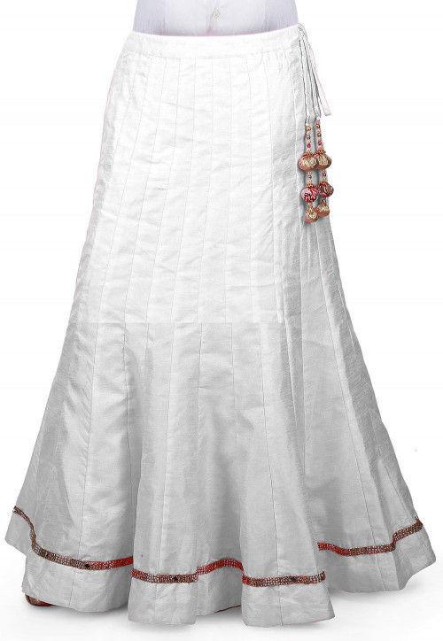 Embellished Border Bhagalpuri Silk Long Skirt in White : BJG1