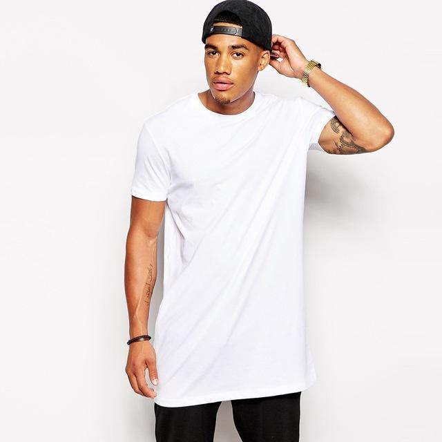 New Men's Clothing White Extra Long T-shirt Hip hop StreetWear .