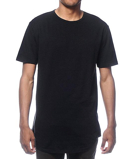 Zine Tall Scoop Black Long T-Shirt | Zumi