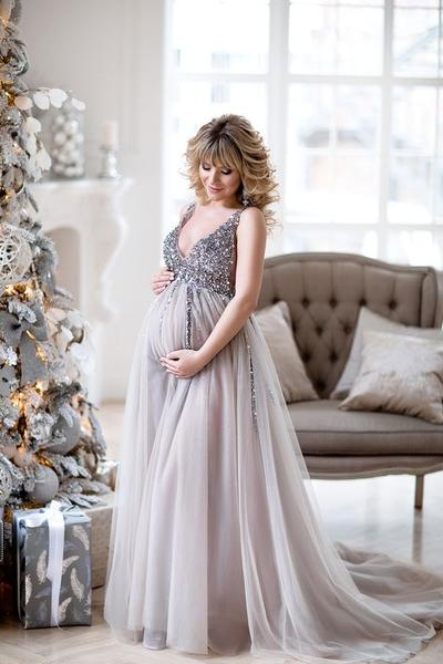 Sequin Maternity Dresses Baby Shower Gowns with Tulle Skirt .
