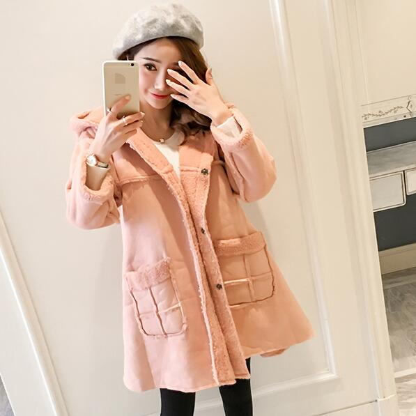 Pink Velvet Maternity Jackets Hoodied A Line Loose Coats Clothes .