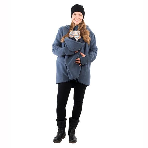 3in1 Babywearing jacket belly to baby fleece in steel-blue   Et