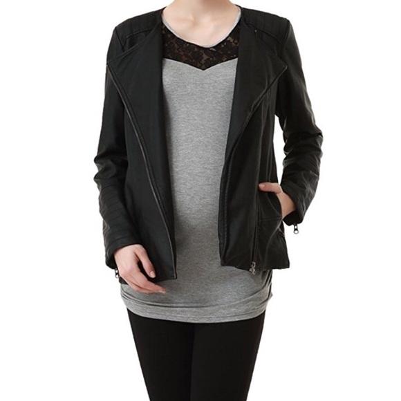 Momo Maternity Jackets & Coats   Black Maternity Leather Jacket .