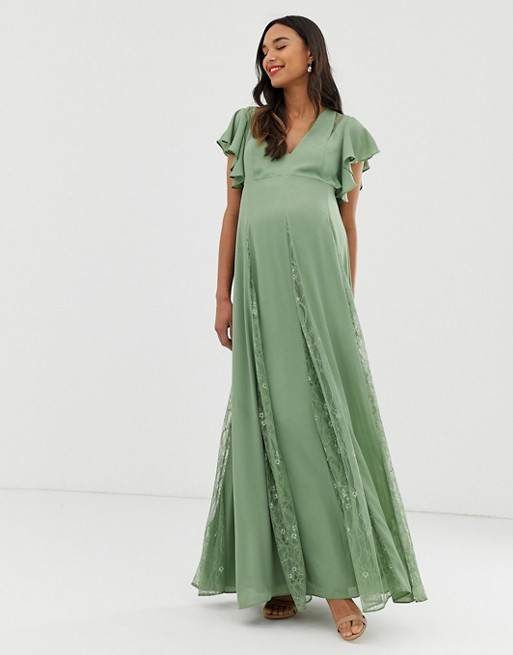 ASOS DESIGN Maternity maxi dress with godet lace inserts | AS