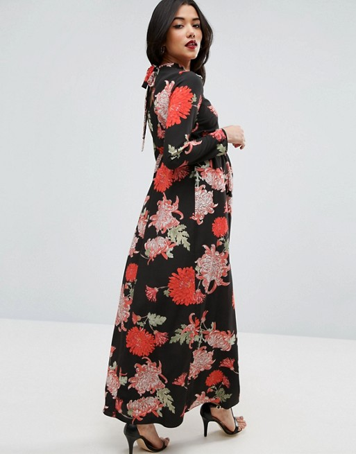 ASOS Maternity Maxi Dress with Long Sleeve in Floral Print | AS