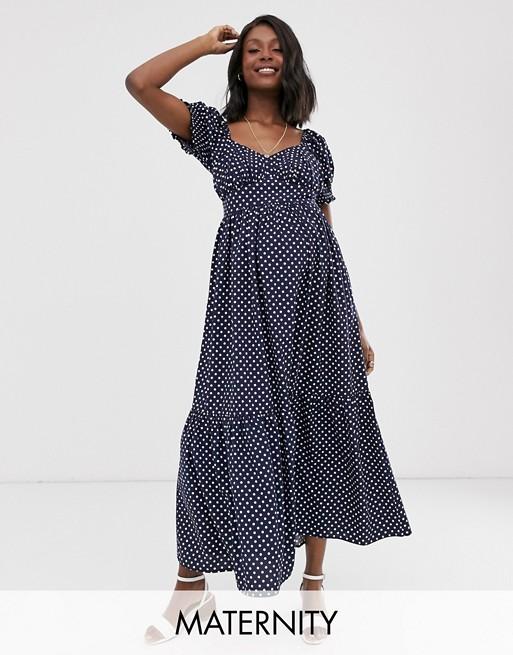 Wild Honey Maternity maxi dress with full skirt in polka dot | AS